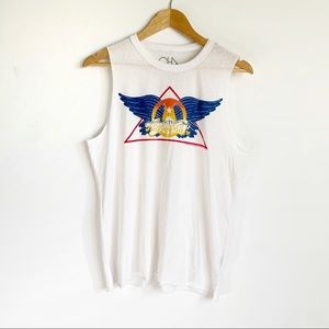 Chaser White Aerosmith Graphic Distressed Tank Top